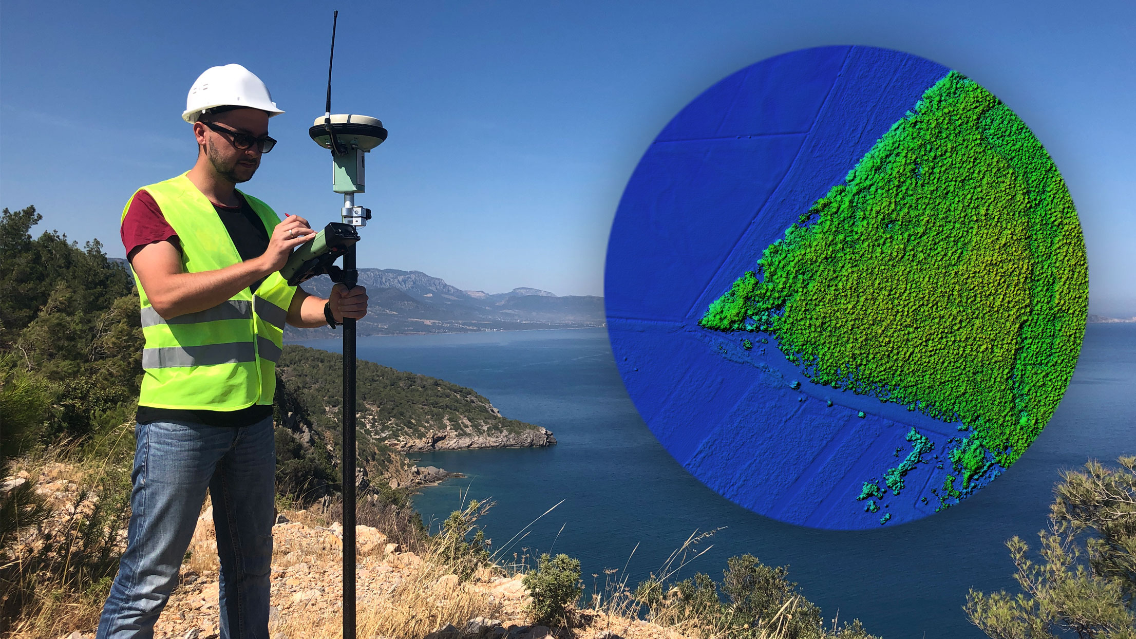Pic: Surveyor outside with inset diagram of GIS water network