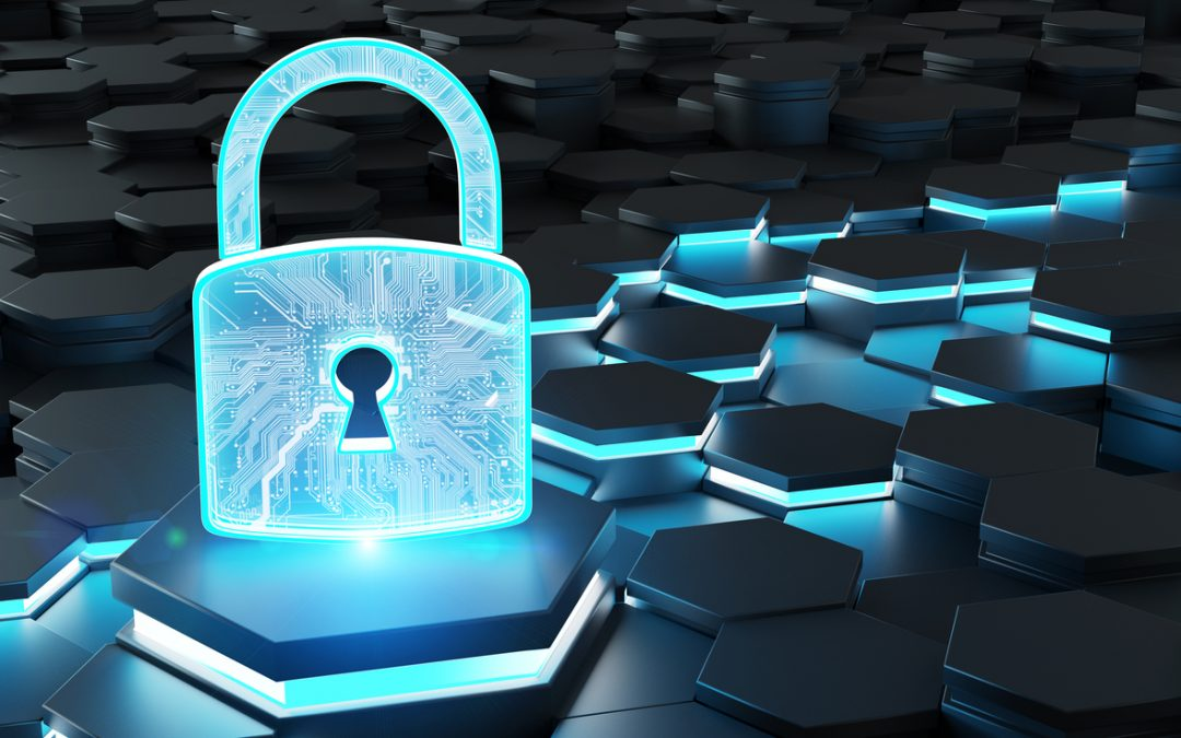 data integrity concept; blue digital lock on a black background