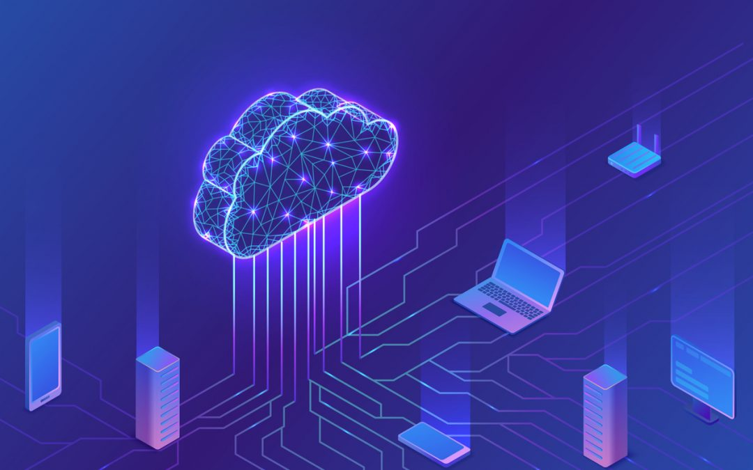 Purple and blue cloud computing concept with laptop, modem, router and other technology connected to a cloud icon by a network of lines.