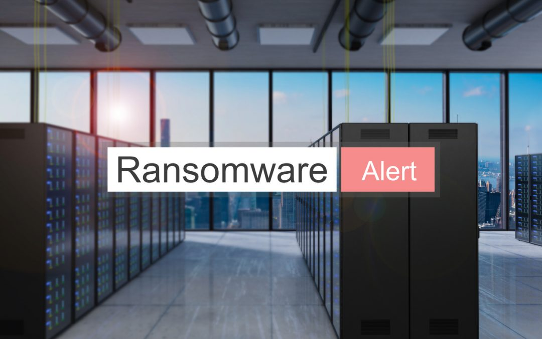 A large server room with floor-to-ceiling windows and a text bar reading ransomware alert.